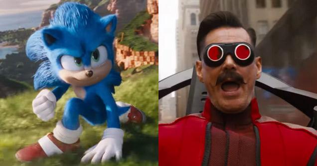 sonic the hedgehog and jim carrey as doctor robotnik