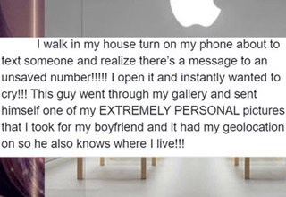 After getting her phone fixed at the Apple Store, she noticed a sent message with some of her xxx-rated photos to a number she didn't recognize.
