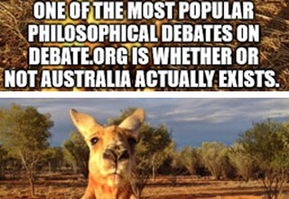 a photo of a kangaroo with text about Australia not being real