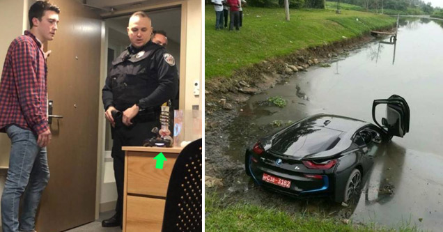 a college student talking to police in his room with a bong on the table and a super car that crashed into the water