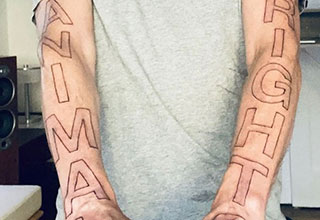 Moby got a huge animal rights tattoo
