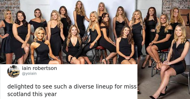 a tweet and a photo of the miss Scotland contestants