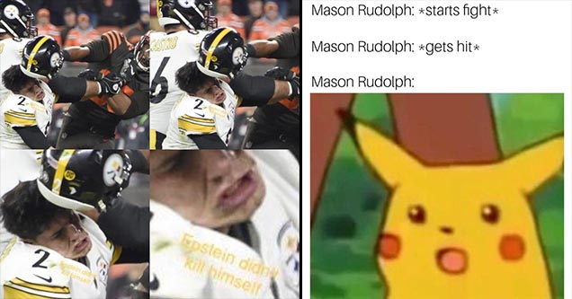 Myles Garrett hitting Kyle Rudolph with his helmet memes and surprised pikachu.