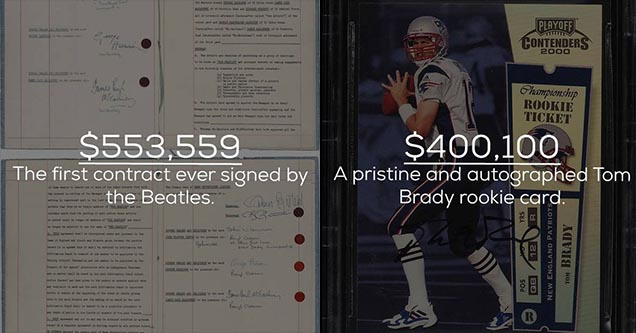 The first contract ever signed by the Beatles and a pristine autographed tom brady rookie card are among the most expensive signed items.