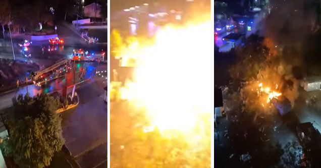 a food  truck explodes while on fire
