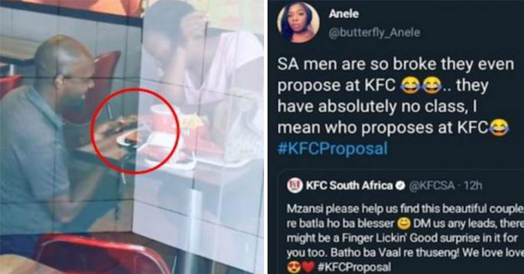 Man shamed for proposing at a KFC in South Africa