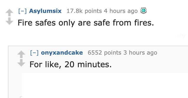a reddit post about not using fire safes to keep your valuables safe