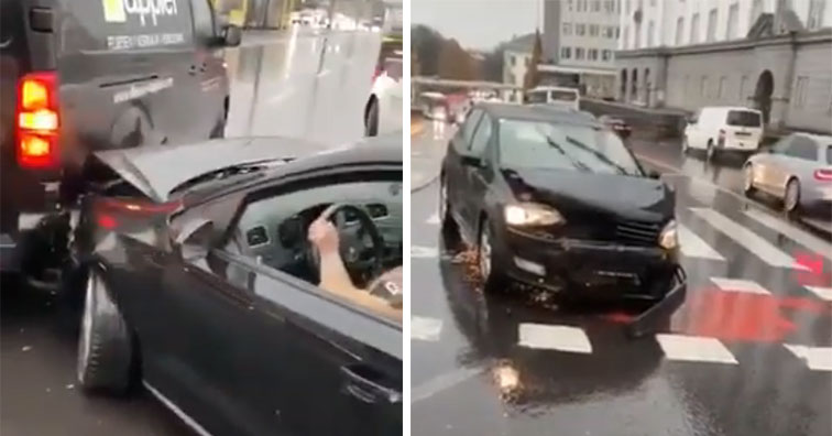 woman gets into two car crashes in under a minute