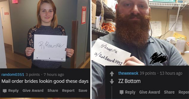 a girl holding a roastme sign and a man holding a roastme sign
