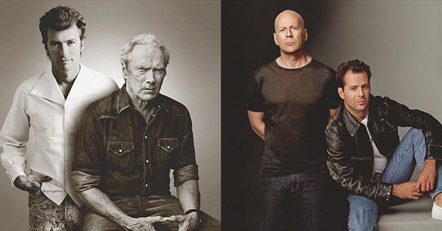 Clint Eastwood and Bruce Willis next to their younger selves in these incredible photoshopped images by Ard Gelinck.