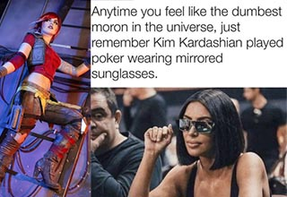 kim kardashian playing poker and a woman cosplaying on a ladder