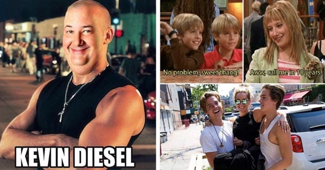 zach and cody then and now, kevin diesel from the office
