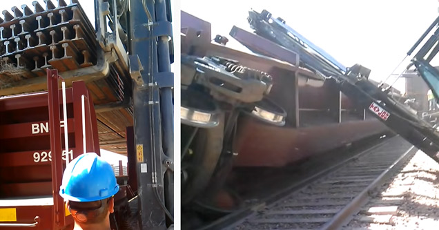 a train car falling off the track while being unloaded