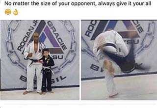 a dude taking down a young kid in martial arts