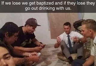 a meme about drinking with jehova witnesses
