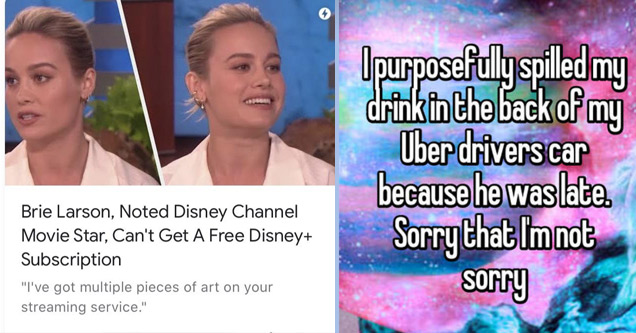 a meme with brie larson being entitled | hairstyle - Brie Larson, Noted Disney Channel Movie Star, Can't Get A Free Disney Subscription  | huntin - Opurposefully spilled my drink in the back of my Uber drivers car because he was late. Sorry that Im not so