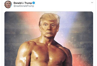 President Trump earlier today posted a photo of himself reimagined as the buff boxer Rocky and the Internet is having a field day with it.