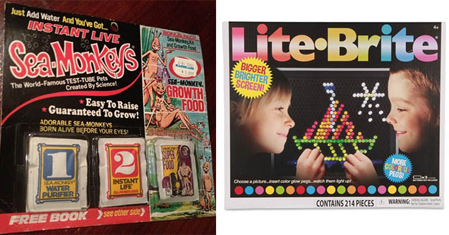 Vintage Sea Monkey's and Lite Brite toys from the 1980s.