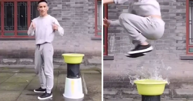 kung fu fighter does epic water trick