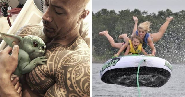 the rock holding baby yoda and a girl and her son on a raft flying in the air