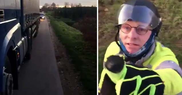 a cyclist pointing at a truck driver angrily in the netherlands