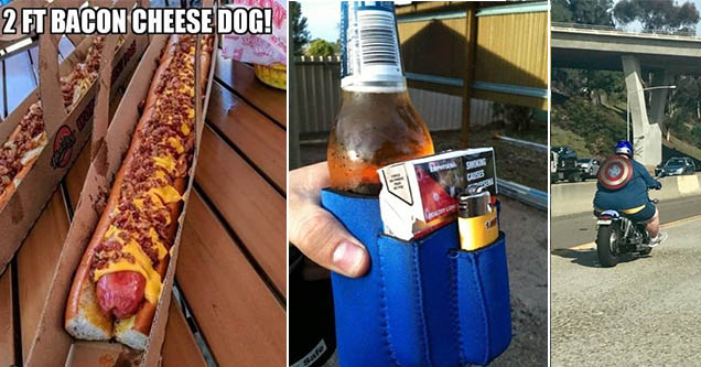 2ft bacon cheese dog and a beer coozie that also holds cigarettes and a lighter and a large man riding a motorcycle with a captain america shield on his back.