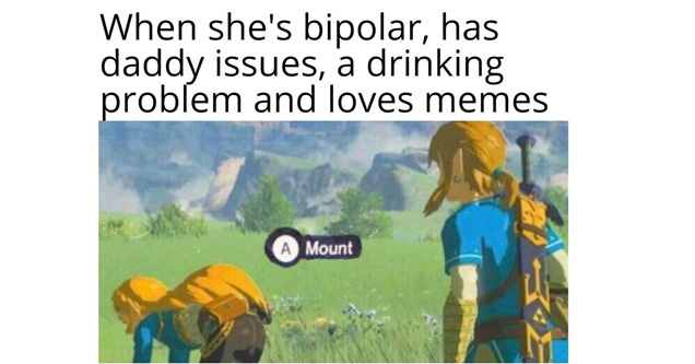 link looking at zelda in breath of the wild a meme