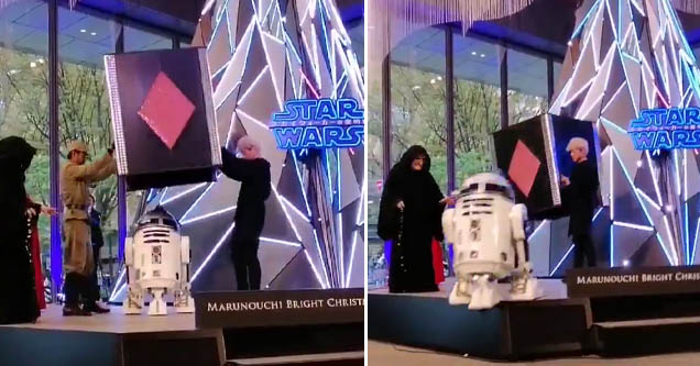 an r2d2 onstage in japan that's nearing the edge