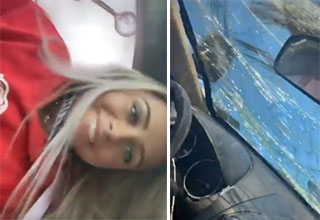 A smiling blonde girl makes a tiktok video after rolling her car over