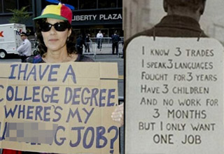 a woman holding a sign demanding a job and a man from the 40s with a sign asking for a job