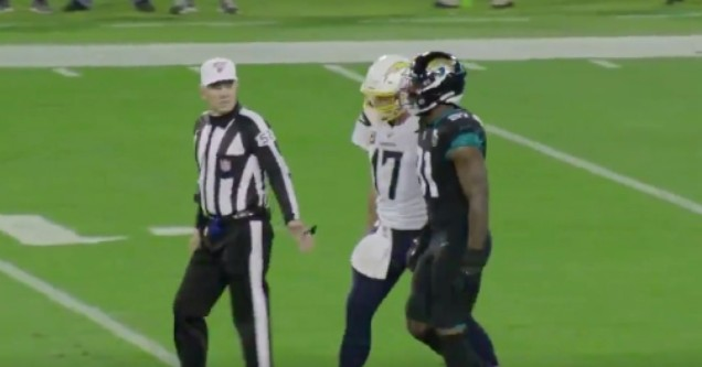 Phillip Rivers takes trash with Yannick Ngakoue in a recent 2019 game.