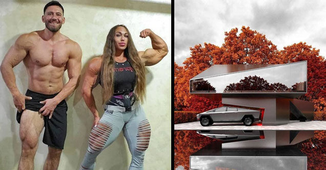 a muscular couple and the tesla truck parked at a house