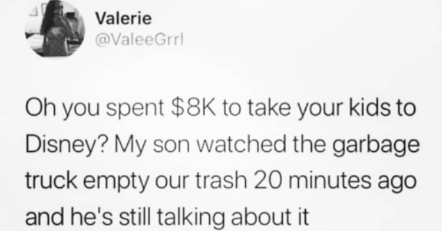funny list of parenting memes and tweets. Oh you spent 8k to take your kids to Disney? My son watched the garbage truck empty our trash 20 minutes ago and he's still talking about it.