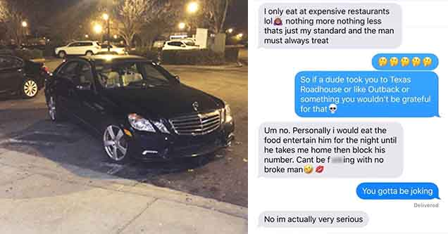 Mercedes luxary vehicle parked like an a-hole diagonally and is taking up multiple spaces | DM of girl that is saying she will block the number if the dude takes her to a Texas Roadhouse or Outback steakhouse and the shock is real