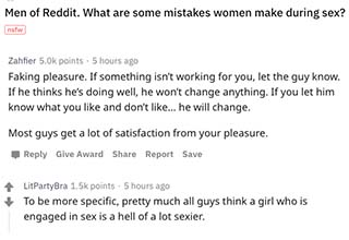 """The good people of AskReddit were asked the question, """"What are some mistakes women make during sex."""" Here are some of their answers."""