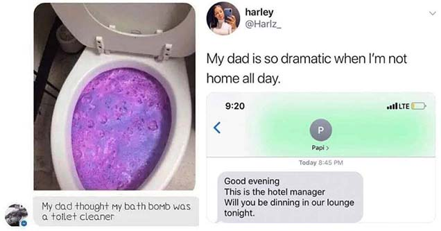 funny dad joke and memes | Dad Jokes - My dad thought my bath bomb was toilet cleaner and LMAOOOOOOOOOO someone come get my dad. | my dad is so dramatic - harley My dad is so dramatic when I'm not home all day. GllLTE Papi Today Good evening This is the h