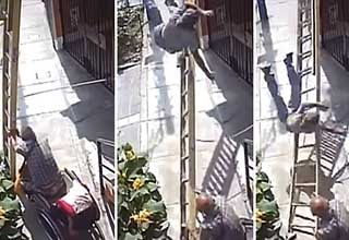 video of a man knocking out a painters off a ladder| grumpy wheelchair user nearly kills painter