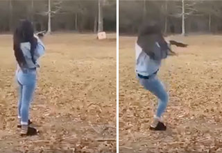 video of a young girl that shoots a gun for the first time| girl gets knocked over by the kick of a shotgun