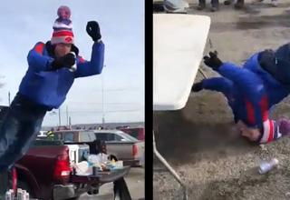 video drunk bills fan  | a buffalo bills fan jumping off a table and almost breaking his neck