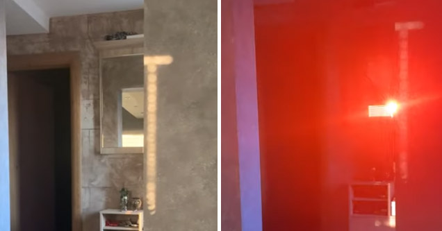 mirror color of sun beam retracted  | a red light as reflected through a refracted mirror