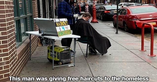 wholesome pics and memes to restore your faith | a man giving homeless people free haircuts