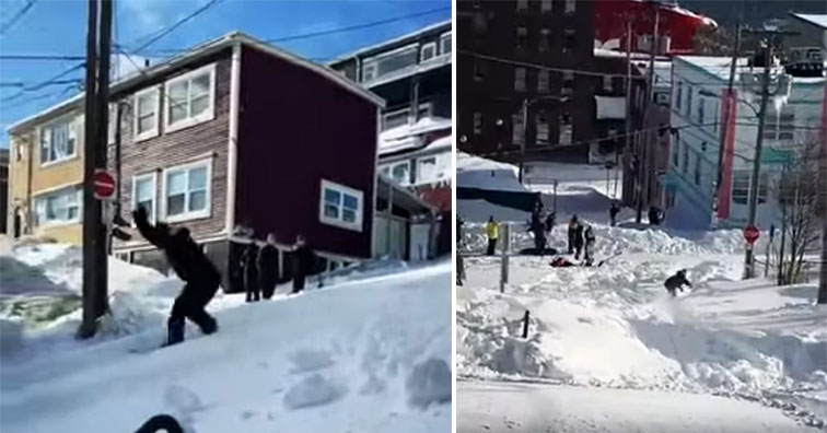 snowboarding on Canadian streets | snowboarding down the streets of St Johns after a major blizzard