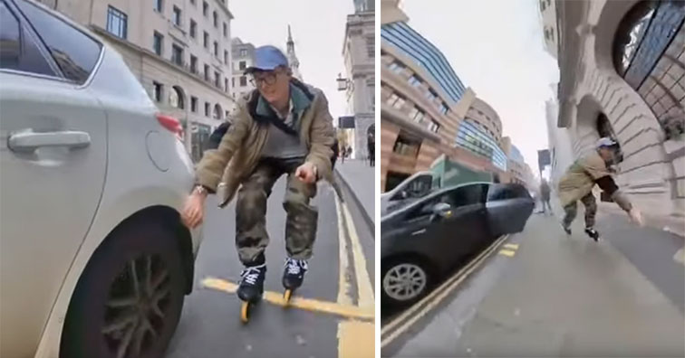 guy on roller blades goes flying down the street and runs into a parked car