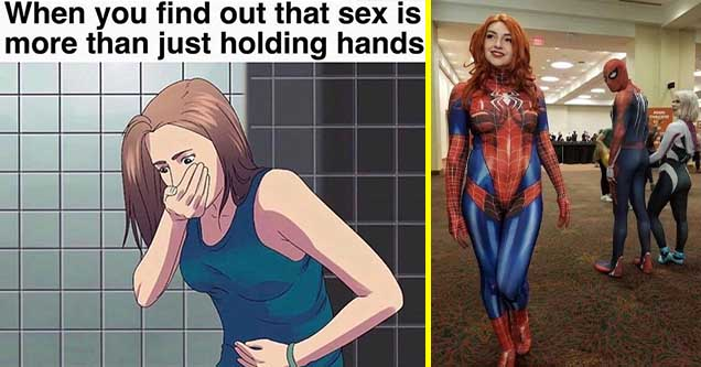 Funny pics and memes for dirty minds | you find out that sex is more than just holding hands - When you find out that sex is more than just holding hands | spider gwen cosplay meme