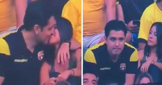 awkward cheating video caught | dude gets caught cheating on stadium cam