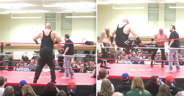 funny video of a wrestler falling over entrance   wrestler beefs it when trying to climb into the ring