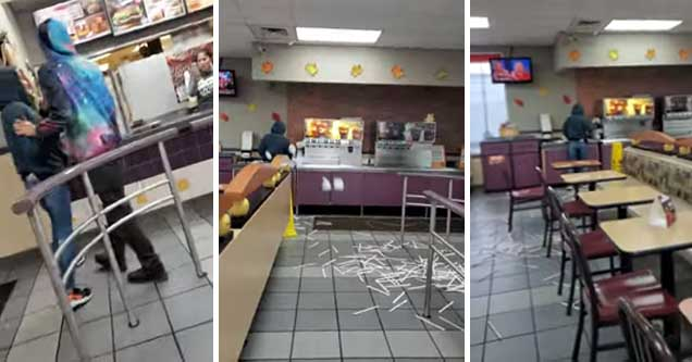 woman throws cups and straws all over a burger king   girl trashes burger king over charging for extra sauce