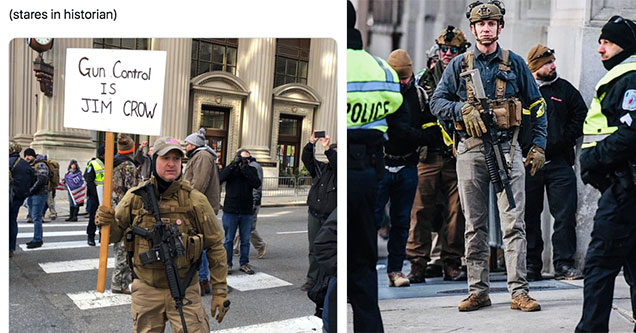 pictures from the gun-rights rally in Richmond Virginia - people covered in camo and holding loaded rifles