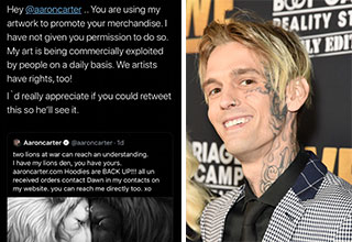 Aaron Carter is back after using art he found on Google to promote his clothing store and loses it after the artist responsible calls him out.