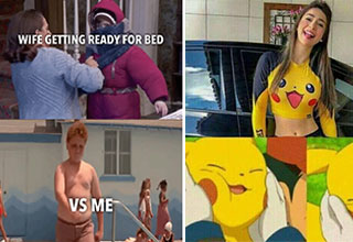funny memes and pics - woman in a pickachu shirt and meme about a couple getting ready for bed
